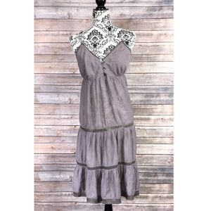 H&M Dress 14 ruffles boho gypsy embroidered purple